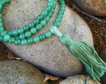 Mala Necklace - Green Aventurine Full Mala