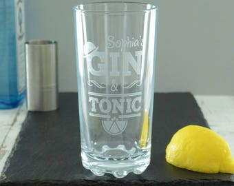 Gin And Tonic Personalised Highball Glass