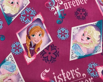 Sisters Forever Fabric, Elsa Fabric, Anna Fabric, Cotton Fabric