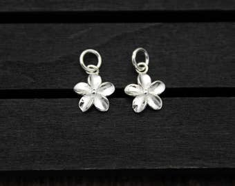 1PC Karen Hill tribe sterling silver flower charm, flower pendant,silver flower charm,DIY Findings for Bracelet and Necklace