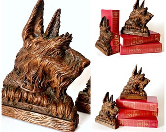 Scottish Terrier Bookends, Vintage Syroco Bookends, Terrier Dog BookEnds, Schnauzer Bookends, Vintage Library West Highland Terrier Bookends