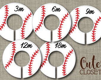 Baby Closet Dividers - Batter Up!- Clothes Organizers Nursery Decor Baby Shower Gift - Baseball Red Laces