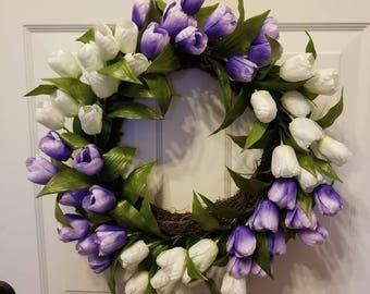 20'Tulip wreath/ door wreath/ front door wreath/ housewarming wreath/ summer wreath/ spring wreath