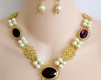Renaissance Necklace, Renaissance Jewelry,  Medieval Necklace, Tudor Necklace, Medieval Jewelry, Gold Tone Brass, Glass Purple Cabochons