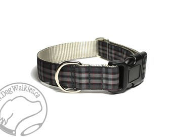 """Silver Pride of Scotland Tartan Dog Collar - 1"""" Wide (25mm) - Side Release or Martingale Dog Collar - Choice of Size and Style"""