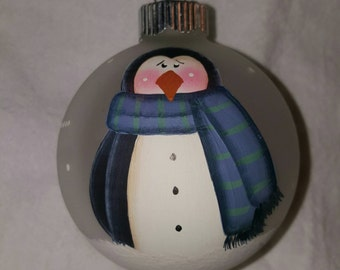 Ornament, Christmas Ornament, Penguin Ornament, Keepsake Ornament, Personalized Ornament, Hand Painted Ornament, Christmas Tree Ornament