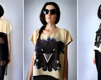 BLACK PYRAMID Sheer Top - Boho Goth Oversized Black Mesh Olive Green See Through Tunic Top Black Blue Violet Abstract Print Tee Shirt