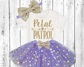 Petal Patrol. Flower Girl Shirt. Flower Girl Outfit. Flower Girl Tutu Outfit. ** In Lavender and Gold **