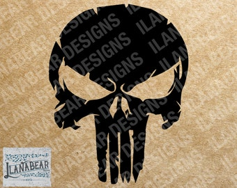 Distressed Punisher Skull Logo