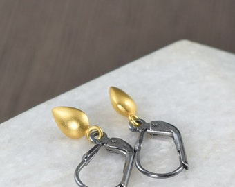 Black and gold earrings minimal earrings Teardrop earrings on blackened sterling silver vermeil drop