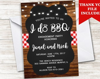 I Do BBQ Invite Invitation Engagement Party Backyard Picnic Country Chalkboard Wood 5x7 Digital Personalized