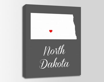North Dakota Canvas Print, North Dakota Map, North Dakota Print, State Wall Art, Personalized Home Town Art, Wall Decor, Nursery, USA