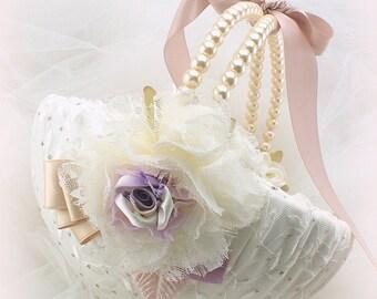 Flower Girl Basket Ivory Lilac Rose Blush, Large Lace Flower Girl Basket, Pearl Handle Vintage Style Flower Girl Basket,Custom Order