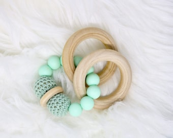 mint baby teether, mint green teether, silicone teether, wooden teething ring, baby shower gift, baby accessories, baby teething toy, rattle