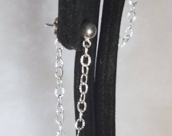 E1151 Never Lose a Back Again Sterling Silver Cut Oval Chain Earrings