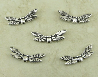 Dragonfly Dragon Fly Wing Beads TierraCast > Insect Bug Garden Pond Peace Qty 5 - Silver Plated LEAD FREE pewter 5588
