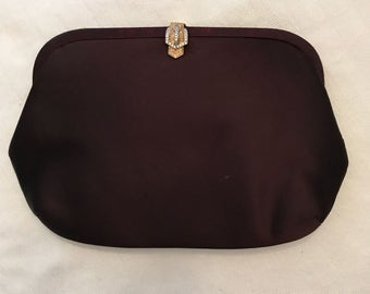 Beautiful Morris Moskowitz brown satin evening bag