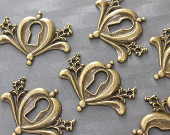 4 Antique Brass Keyhole Cover