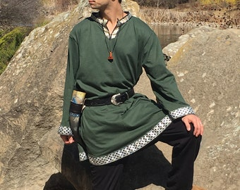 Viking Tunic - Long sleeve - Medium Hunter Green - Keyhole Neckline -  Viking Clothing - Viking Costume