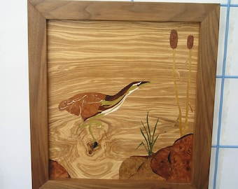 Wood veneer american bittern, marquetry, made in Montana, bittern, wood inlay, inlay picture, bird picture, wall decor