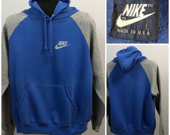 Vintage 1980s Nike Blue Label Two Tone Color Block Hooded Swoosh Sweatshirt Hoodie / Medium  / 80s Retro Sports Nike Block Letter USA