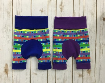 Rainbow Brite Stars and Stripes Maxaloones cloth diaper friendly grow with me pants or shorts with blue cuffs and bum