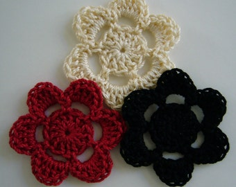 Crocheted Flowers - Ecru, Black and Red - Cotton Appliques - Cotton Embellishments - Set of 3