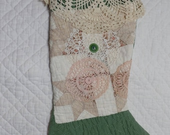 Primitive Quilted Christmas Stocking  with Vintage Dollies and Lace - Repurposed Vintage Quilt