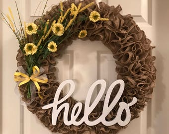 Hello Burlap Wreath- Yellow