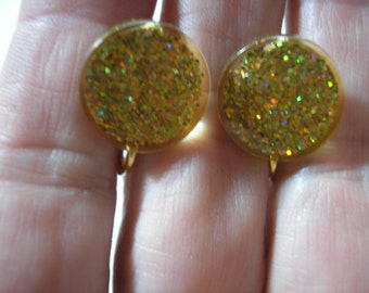 "Play Earring - Clip - Glitter Dot - Gold - 1/2"""
