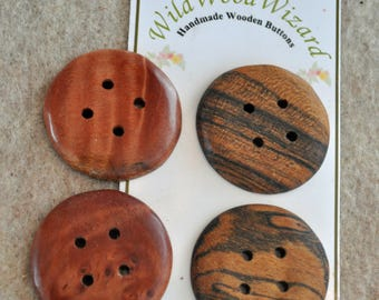 "1.25""  Australian Myrtle Burl  and Ziricote- Handmade Round - 4 buttons"