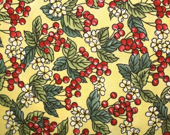 Cotton fabric, fabric, Quilting Fabric, Sewing Fabric, Blank Quilting, Cherries, Flowers, Yellow background, Quilting, Sewing, Fabric Shop