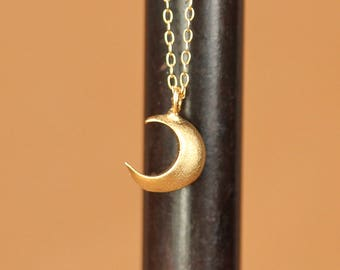 Tiny gold moon necklace - crescent moon necklace - crescent necklace - small gold moon charm