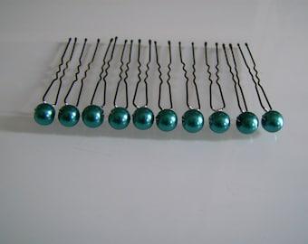 set of 10 pins/clips/pins/accessories hair/bun beads p dress bridal/wedding/evening/cocktail blue Peacock teal (cheap)