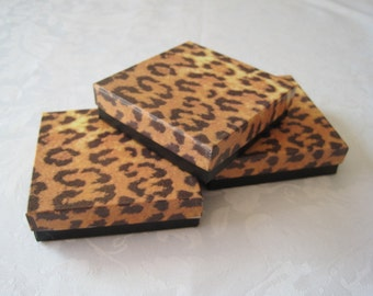 10 Gift Boxes, Jewelry Gift Boxes, Jewelry Boxes, Wedding Favor Boxes, Jewelry Box, Cheetah Leopard Animal Print, Cotton Filled 3.5x3.5x1