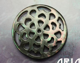 MOTHER OF PEARL: 25mm Black Mother of Pearl Carved Openwork Filigree Floral Component Button (1)