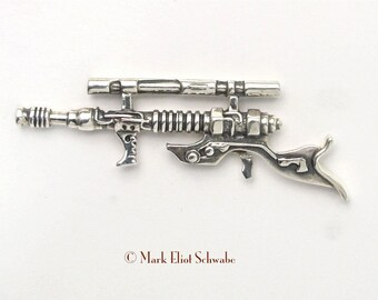 Blaster Long Gun Sci Fi, steampunk military style tac pin Sterling Silver limited edition