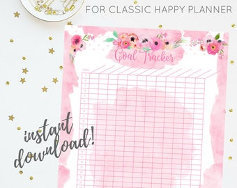 Goal Tracker | Pink Floral Watercolor Printable Insert Series | For Classic Happy Planner | Instant Digital Download | Planner Insert | PDF
