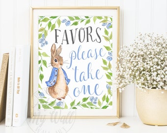 Baby Shower Sign, Favors sign, Peter Rabbit Baby Shower, Please Take One, Baby Shower Printable, Baby Shower Prints, Baby Shower Poster