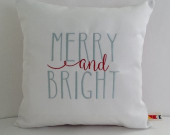 Christmas Pillow Cover|MERRY AND BRIGHT|Sunbrella Indoor Outdoor Pillow Cover|Rae Dunn Inspired Pillow|Christmas Decorations|Oba Canvas Co