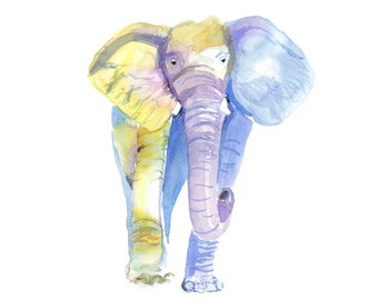 Watercolor Elephant Printable Wall Art | Living Room Clipart | Home Decor |  Elephant Art Print