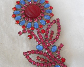 Large VINTAGE Red & Blue Rhinestone Czech Flower Signed Costume Jewelry Brooch