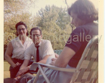 Vintage Photo, Man & Two Women Sitting in Backyard, Intimate Color Photo, Found Photo, Snapshot, Vernacular Photo, Old Photo, Paint this!√
