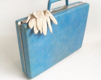 "Vintage Blue Samsonite Silhouette Attaché Case, Briefcase, Brief Case ""Modern and Sophisticated"""