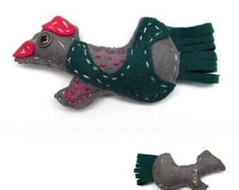 Dark green gray pink felt bird brooch