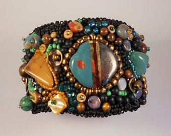 Painted Desert Bead Embroidery Cuff