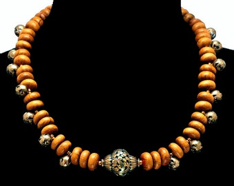 African Wood & Nepali Brass Necklace