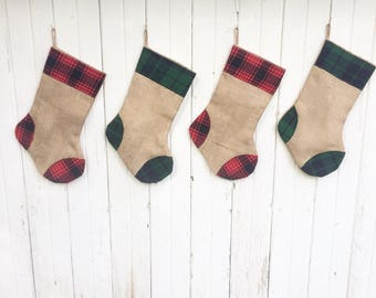 Plaid Flannel & Burlap Christmas Stocking- Red and Green Plaid-Traditional Christmas Colors- Rustic-Cabin-Woodland-Country-Holiday Decor