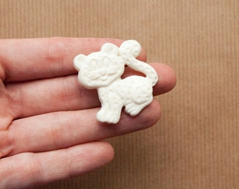 Cat Brooch White Plastic Pin