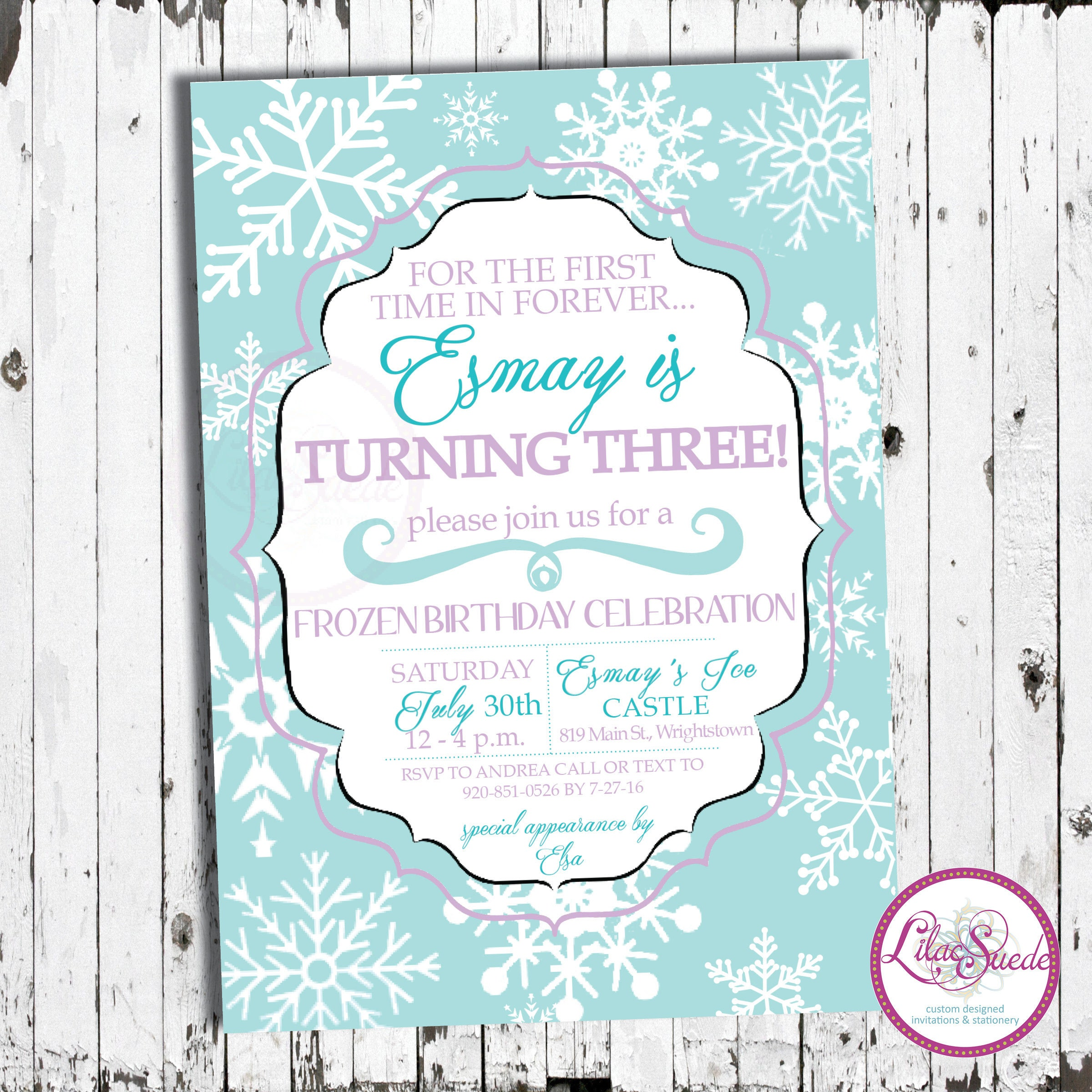 Frozen inspired birthday invitation blue purple snowflakes zoom solutioingenieria Images